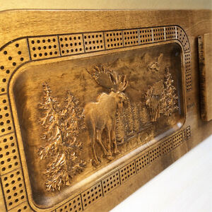 Wood Carved Moose Scene Custom Cribbage Board w/card holder Strathcona County Edmonton Area image 3