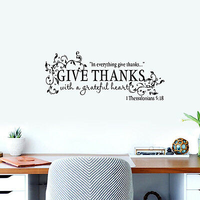 Bible Verse Give Thanks With a Grateful Heart Thanksgiving Vinyl Wall (Give Thanks With A Grateful Heart Bible Verse)
