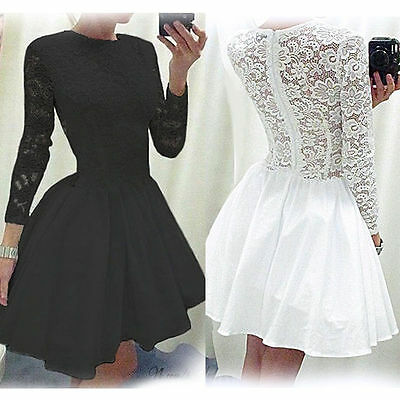 UK Women's Vintage Long Sleeve Lace Evening Formal Cocktail Party Top Mini Dress