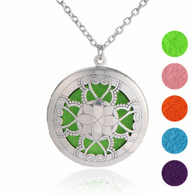 30 mm Lotus Flower Round  Photo Perfume Aromatherapy Essential Oil Locket