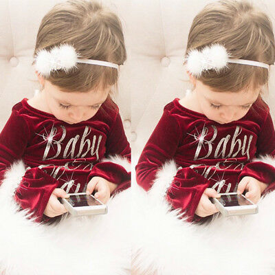 US Christmas Santa Baby Claus Kids Girls Fur Rompers Jumpsuit Outfits - Childrens Santa Outfits