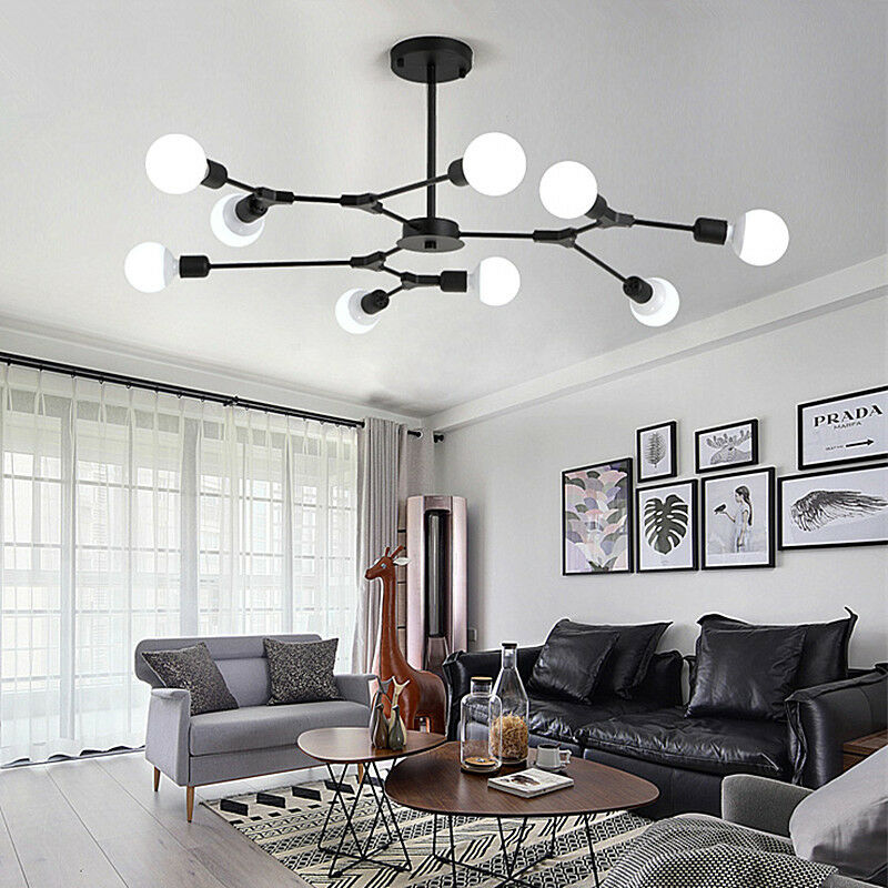 Details About Black Flush Mount Ceiling Light Modern Chandelier Lighting Office Pendant