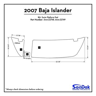 Baja Islander - SeaDek Swim Platform Traction Pads - Custom Design / Colors