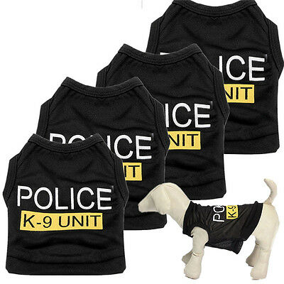 Dog Cat Vest Police Puppy T-Shirt Coat Pet Clothes Summer Apparel Costumes Black - Costume Cat