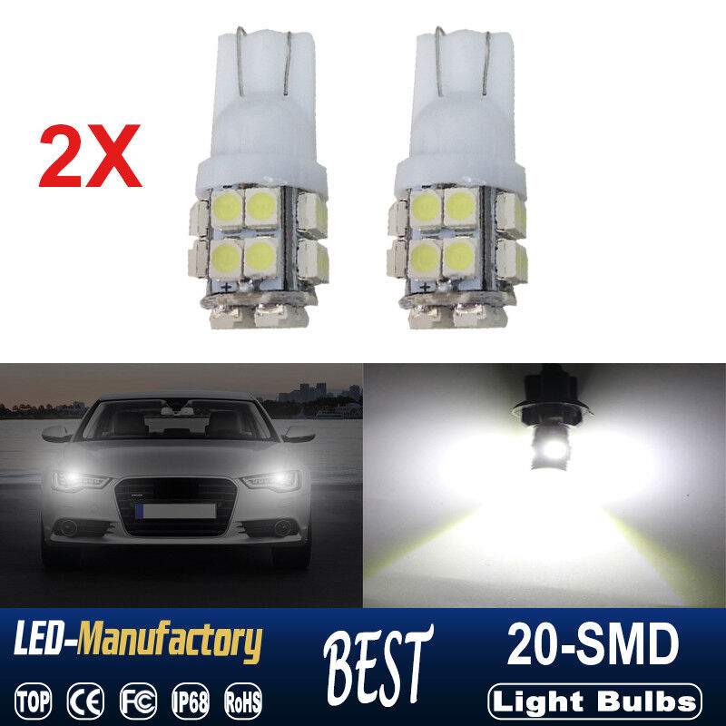 2X ULTRA White 20-SMD LED LICENSE PLATE Light bulbs T10 W5W 2825 158 168 194