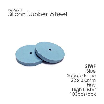 Dental Lab Silicone Polisher Wheel Blue Fine Square Edge 100 Piece