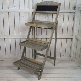 Rustic Wooden Display Stand with Blackboard