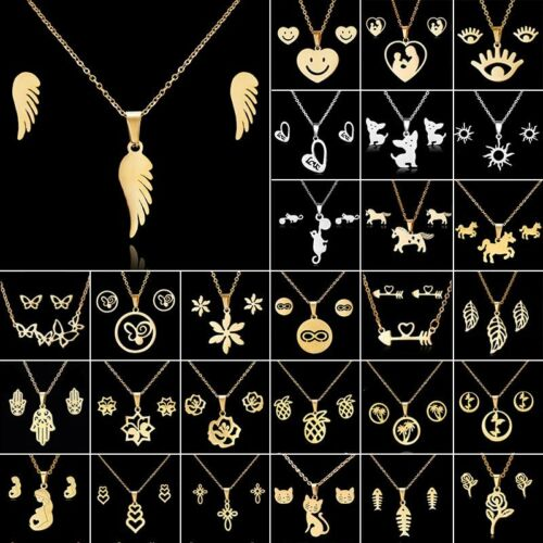 Jewellery - Fashion Gold Stainless Steel Jewelry Set Women Pendant Necklace Earrings Wedding
