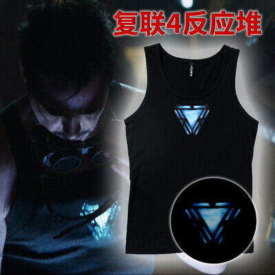 Avengers:Endgame Iron Man Reactor Black Vest Cotton Cosplay Costume Masquerade (Iron Man Black Costume)
