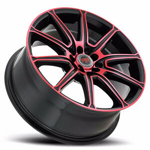 "NEW for 2016 !!! 18"" Black Red rims 5X110 and 5X114.3 $890 #R3"