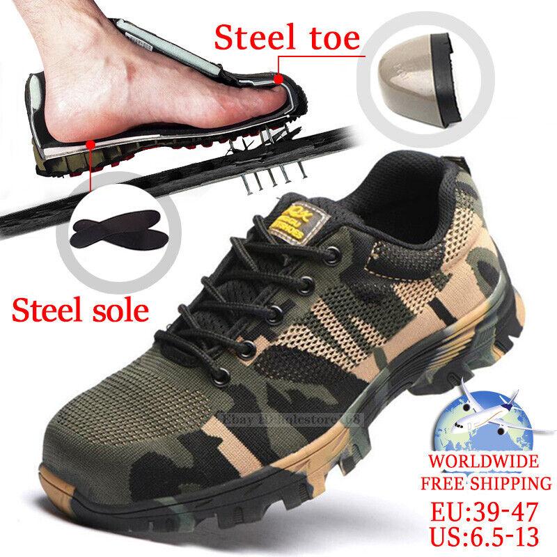 Men/'s Safety Indestructible Steel Toe Work Shoes Waterproof Camo Boots Sneakers