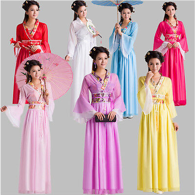 Chinese Women Costumes (Woman Chinese Style Ancient Fairy Princess Dramaturgic Show Costume Robe Dress)