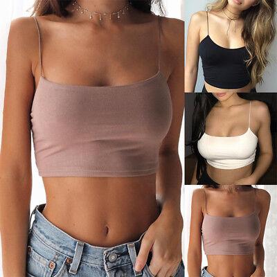 (Womens Sleeveless Tank Tops Cami Sleeveless T-Shirt Summer vest Crop Top Blouse)