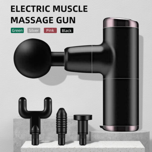 Muscle Massagegerät Massagepistole Mini Electric Massage Gun Massager + 4 Köpfe