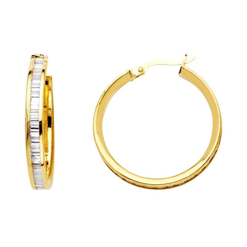 Hoop Earrings Solid 14k Yellow Gold Hoops Round CZ Baguette French Lock Fancy