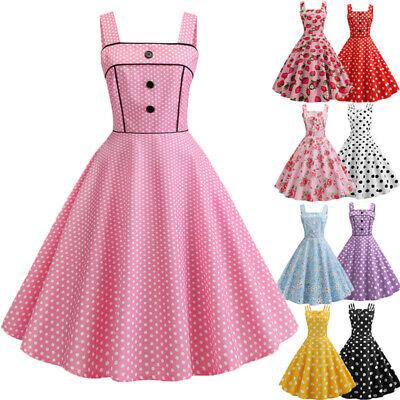 Women Rockabilly Petticoat Retro Sling Hepburn Party Dresses Cosplay Costume - Retro Party Costumes