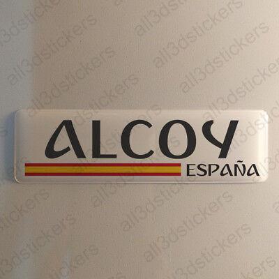 Alcoy Alcoi España Pegatina 3D Relieve Resina Bandera 120x30mm Pegatinas Sticker