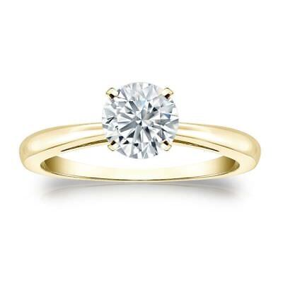 Classy 0.30 Cts F/VS1 GIA Certified Natural Diamond Ring In Fine 14K Yellow Gold