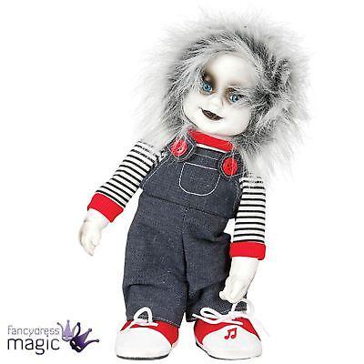zombie enfant horreur animé Poupée avec son Chucky accessoire d'Halloween 32cm (Sons D'halloween)