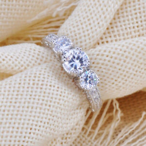 White Gold Swarovski Diamond Wedding Bridal Engagement Ring