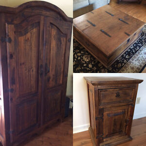 Armoire / coffee table-trunk / 2 end tables