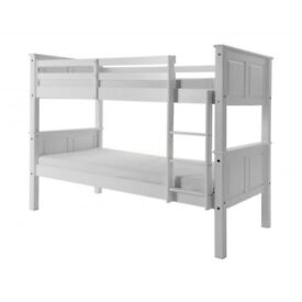 Brand New 3FT Single Convertible White Chunky wooden bunk bed with wide range of mattresses