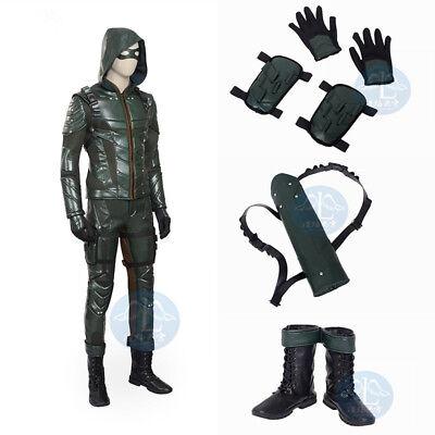 Full Suit DC Green Arrow Season 5 Oliver Queen Cosplay Superhero Costume Outfit - Arrow Suit