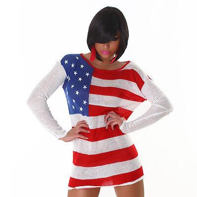 Feinstrick Longpulli Minikleid USA Flagge Stars & Stripes Amerika Uni Größe S M ()
