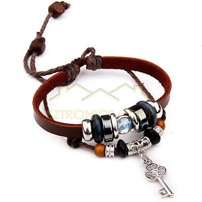 Fashion Tribal Cats Eye Hemp leather Cuff Bracelet Key Pendant Blue