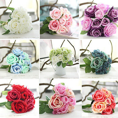 Artificial Rose Dahlia Flowers Leaf Bouquet Home Floral Wedding Garden Decor New