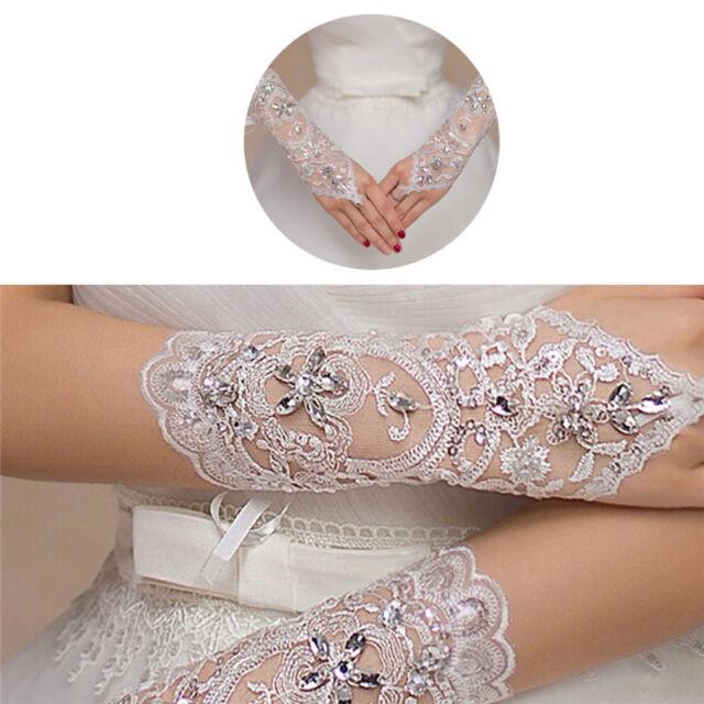 Bride White Gloves Beads Embroidery Beaded Short Wedding Dress Bridal La