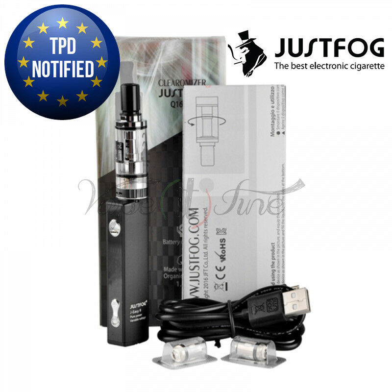 JUSTFOG Q16 STARTER KIT SIGARETTA ELETTRONICA 900 MAH TPD NOTIFIED NERO O SILVER