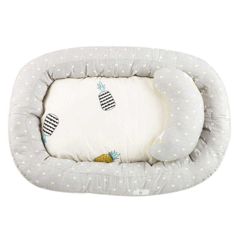 Portable Baby Bassinet Bed Soft Breathable Lounger Crib Sleep Nest w/ Pillows