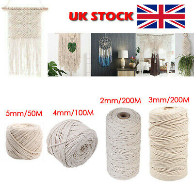 Natural Beige Cotton 3/4/5mm Twisted Cord Rope Artisan Macrame String DIY Craft