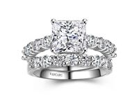 Classic princess cut white cubic zirconia ring set