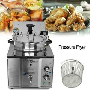 16L Commercial Electric Pressure Fryer Machine Frying Oven 50-300°C 110V (022262)