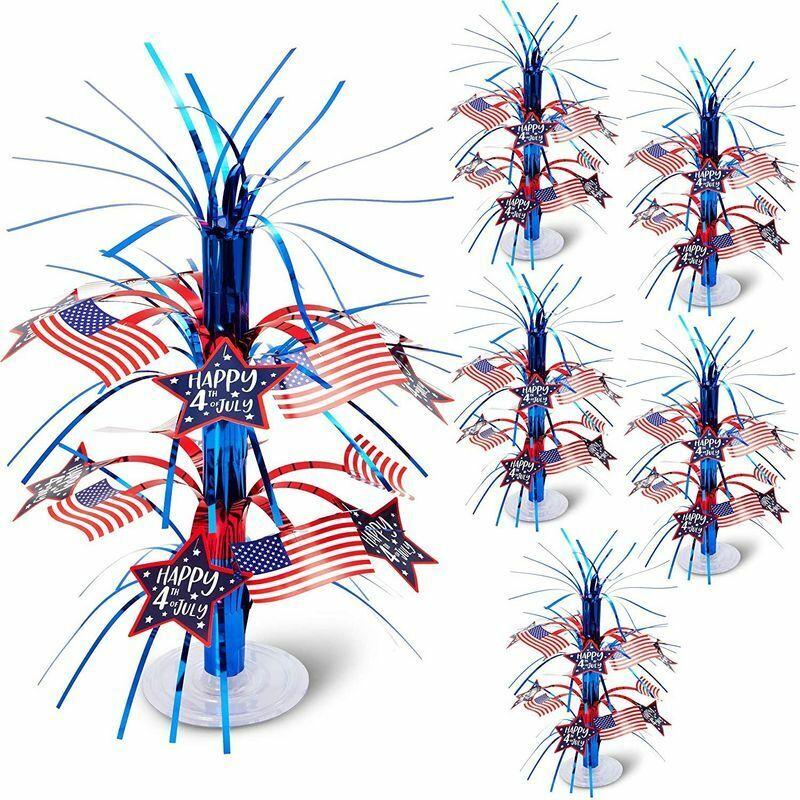 4th of July American Flag Patriotic Cascade Centerpiece Patriotic Décor (6 Pack)