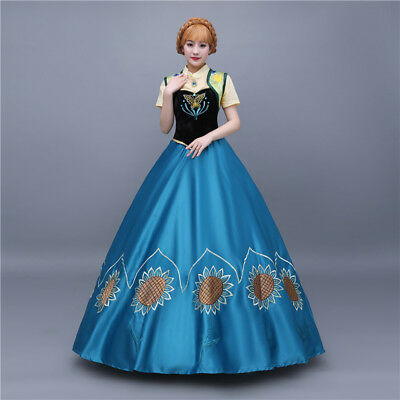 Frozen Anna Elsa Disney Cosplay Costume Kleid Kostüm Princess long dress Neu 2