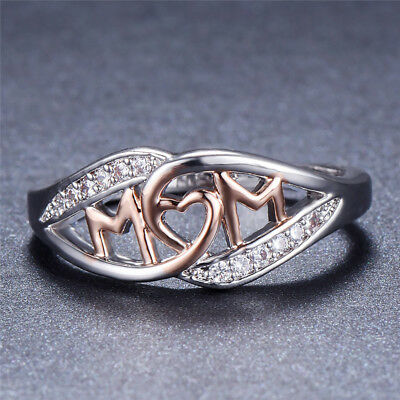 Band Mom Ring - MOM Ring 925 Silver Rose Gold Heart Wedding Band Jewelry Mother Day Gifts Sz6-10