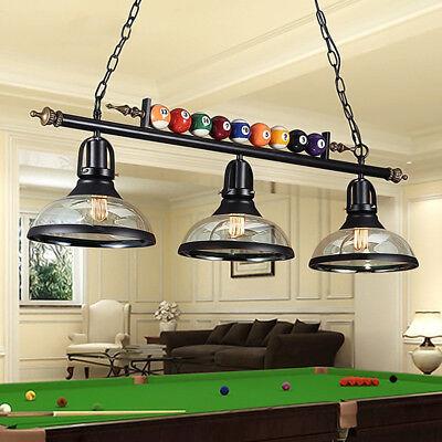"39"" Black Metal Ball Design Pool Table Light Billiard Lamp W Amber Glass Shades"