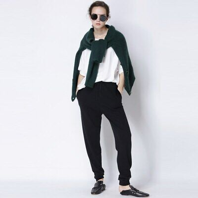 Women Winter Cashmere Pants Loose knitted Pencil Warm Female Elastic Waist Solid Cashmere Knit Pants