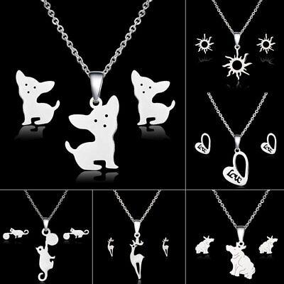 Animal Dog Cat Deer Heart Stainless Steel Necklace Earrings Women Jewelry Set ()