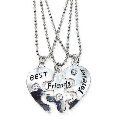 3 pcs Best Friends Forever Necklaces Colar Friendship Heart Charm Pendent Gift - Best Friends Forever Necklaces