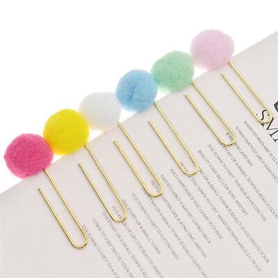 2 Pcs Colorful Venonat Pompon Ball Paper Clip Pins Home Office Decor Supplies