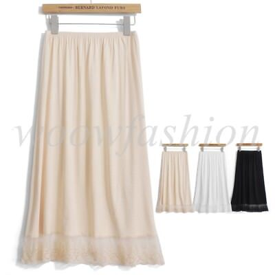 (Women's Cotton Half Slip Skirt with Lace Trim Underskirt Dress for Ladies Girls)