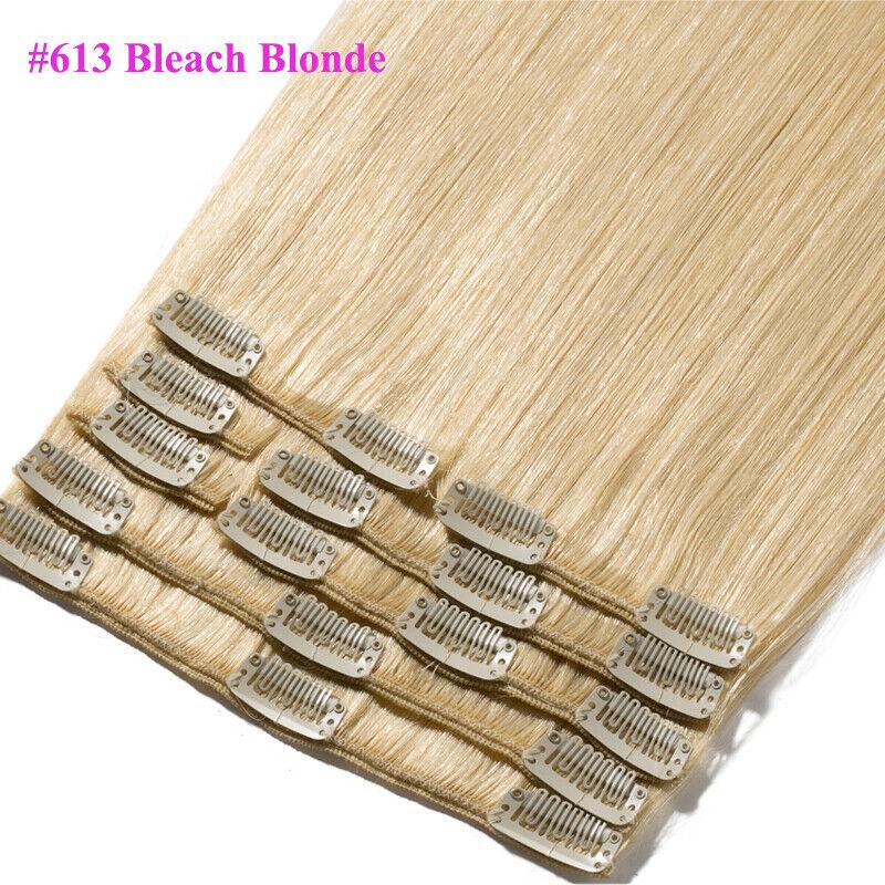50CM 60CM Echthaar Clip In Extensions Remy Haar Haarverlängerung 8 teilig Set DE #613 Hellblond
