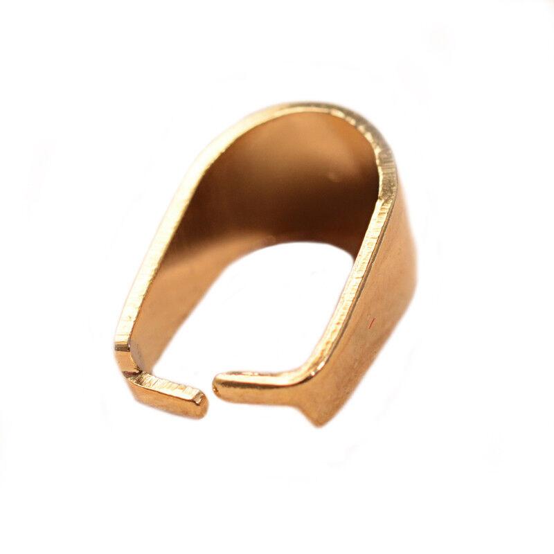100pcs 304 Stainless Steel Pinch Bails Clasps Pendants Connector Golden 16.5mm