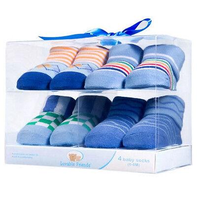 LUVABLE FRIENDS 4  x Cotton Boy Baby Novelty Socks Gift Box 0-9 Mths BRAND NEW