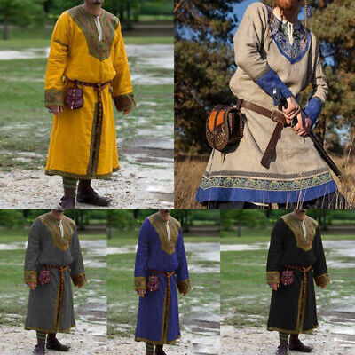 Cosplay Costumes For Men (Medieval Viking Pirate Shirt Men Long Sleeve Tunic Robe Stage Cosplay Costumes)