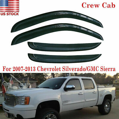 For 2007-2013 Chevy Silverado 1500 Crew Cab Window Vent Visors Out-Channel Smoke